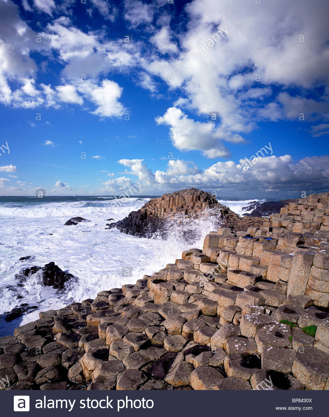 Hexagonal rock formations of the Giant's Causeway in Northern Ireland. - Stock Image