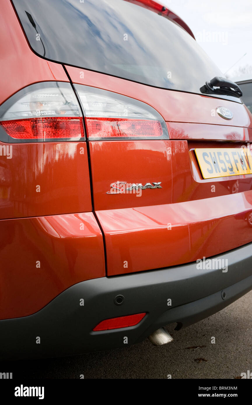 Close up view of rear of a ford s-max people carrier car. - Stock Image