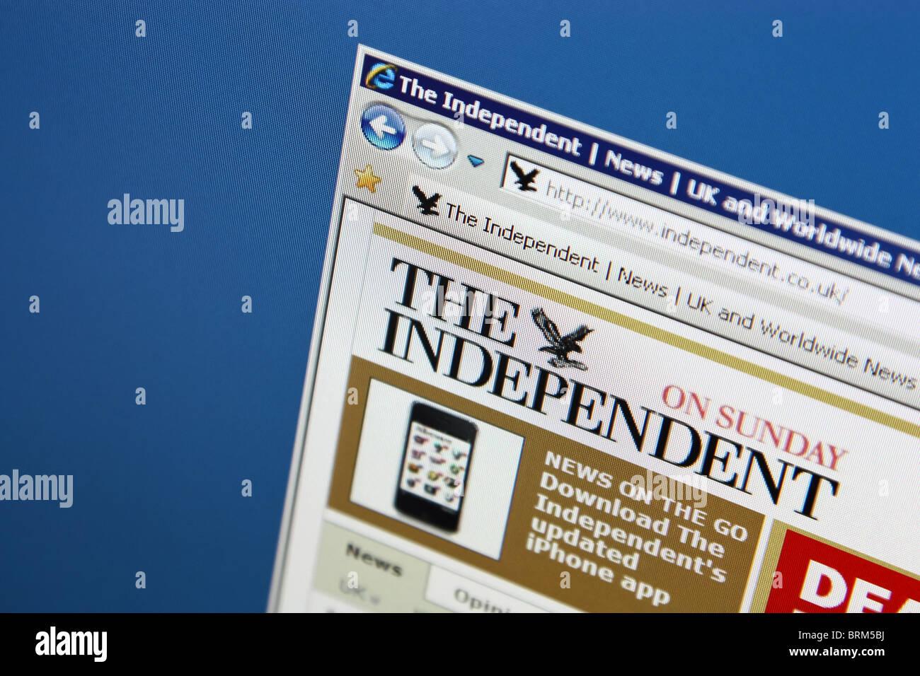 independent online news website screenshot - Stock Image