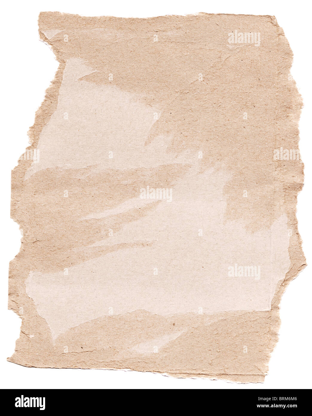 High resolution scrap of torn brown cardboard - Stock Image