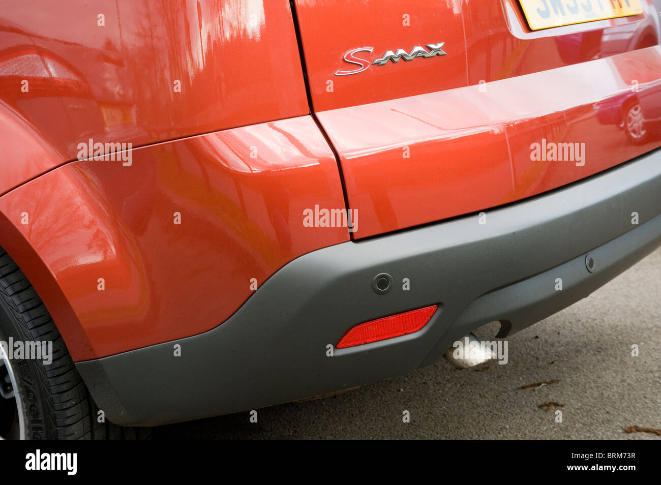 Close up view of rear of a ford s-max people carrier car showing parking sensors. - Stock Image