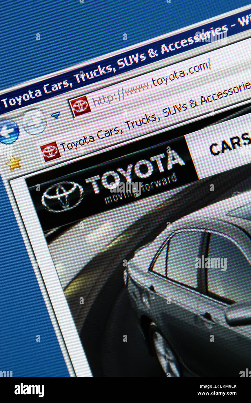 Toyota website screenshot - Stock Image