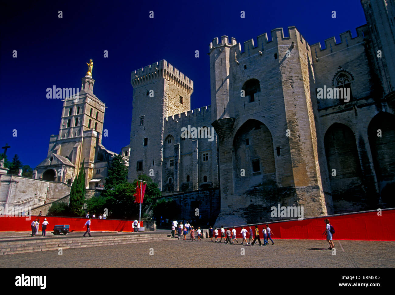 French people tourists, Notre-Dame des Doms Cathedral, Palace of the Popes, city of Avignon, Avignon, Provence, - Stock Image