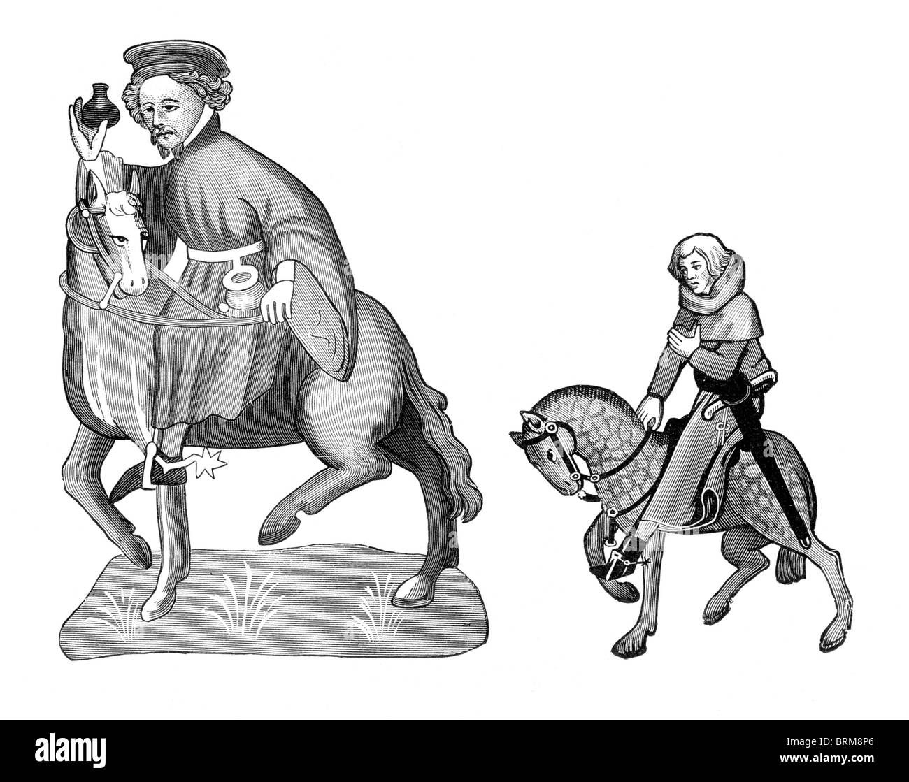 Black and White Illustration; Manciple and Reeve, from the Ellesmere Manuscript of the Canterbury Tales, - Stock Image