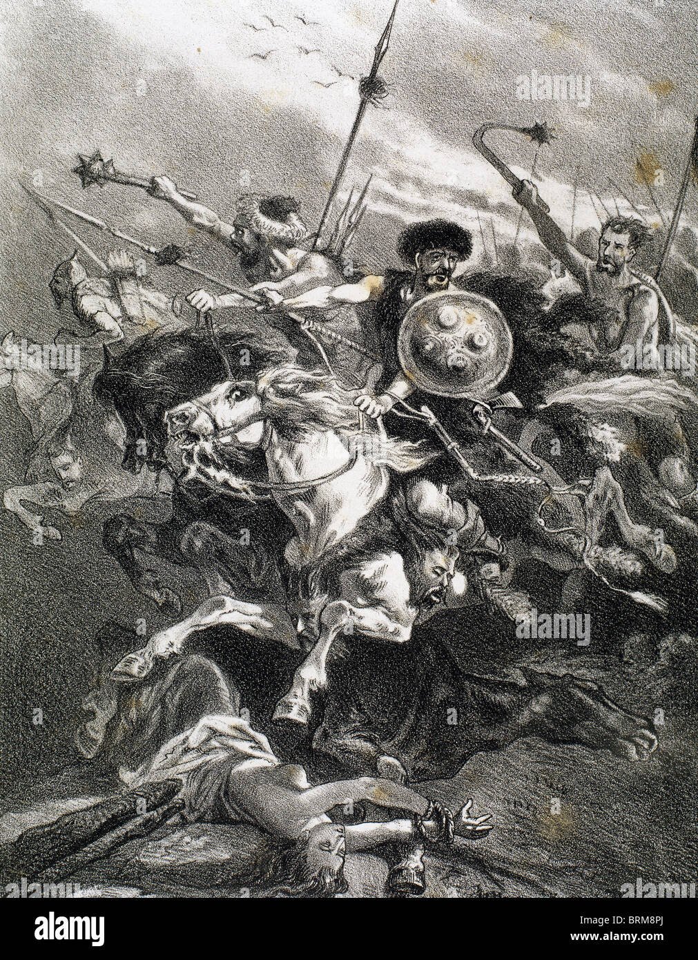 Invasion of the Iberian Peninsula by the Visigoths. Sixth century. Engraving. - Stock Image