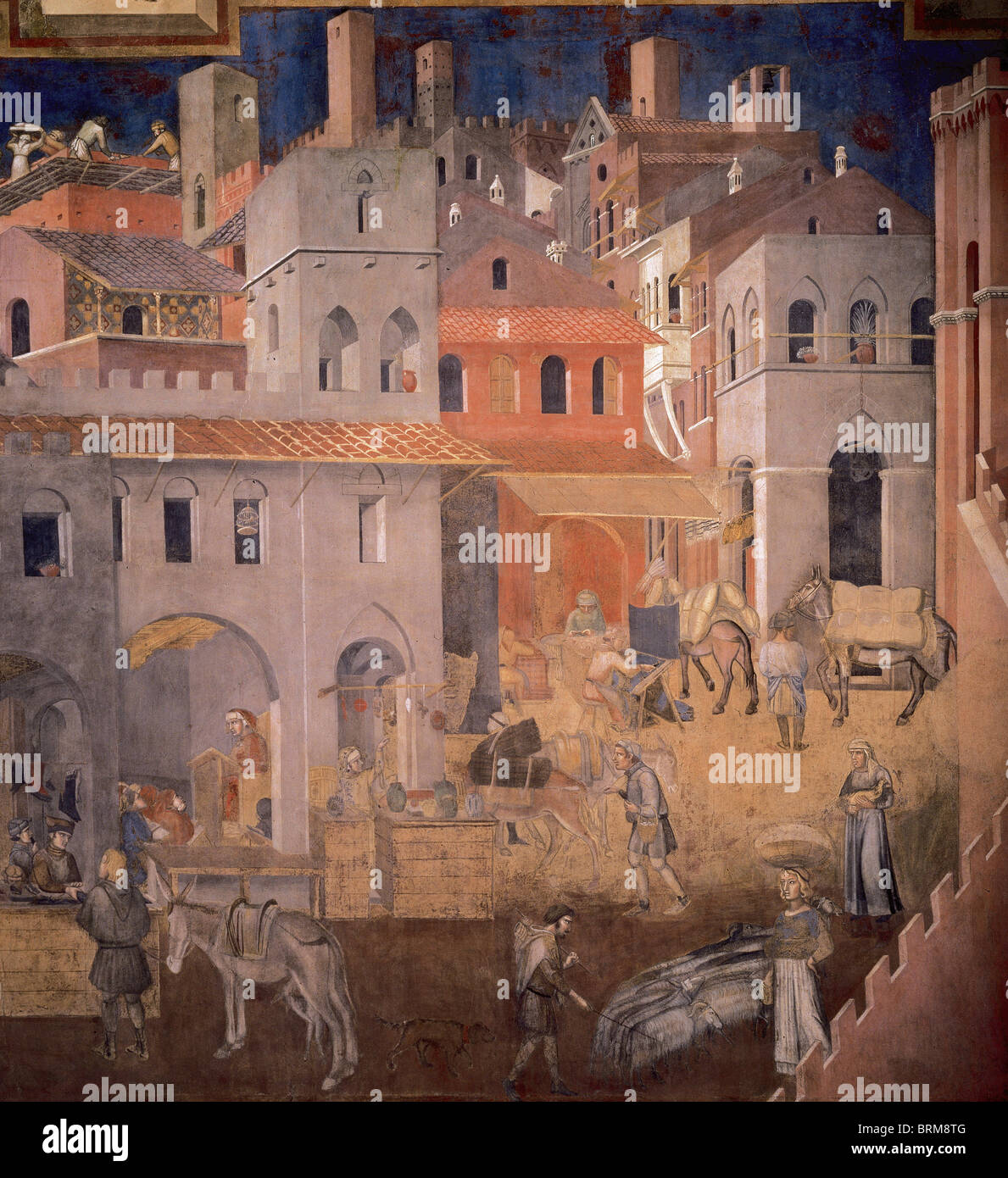 Ambrogio Lorenzetti (1280-1348). Effects of Good Government in the city. Fresco. Detail. Merchants in the walled - Stock Image
