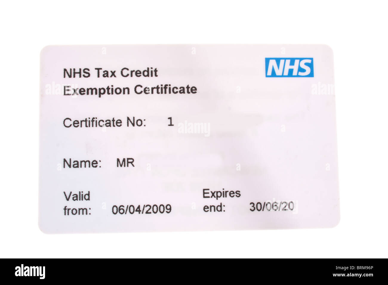 Exemption stock photos exemption stock images alamy close up of white plastic nhs tax credit exemption certificate card thecheapjerseys Images
