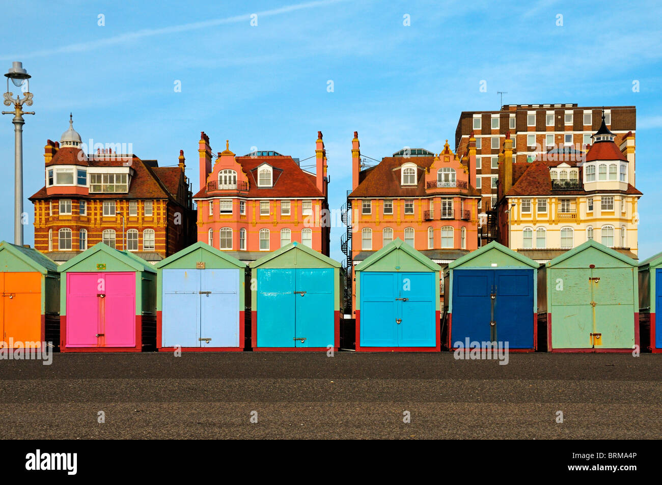Colourful Beach Huts And Buildings Along The Promenade Of Hove Stock Photo Alamy
