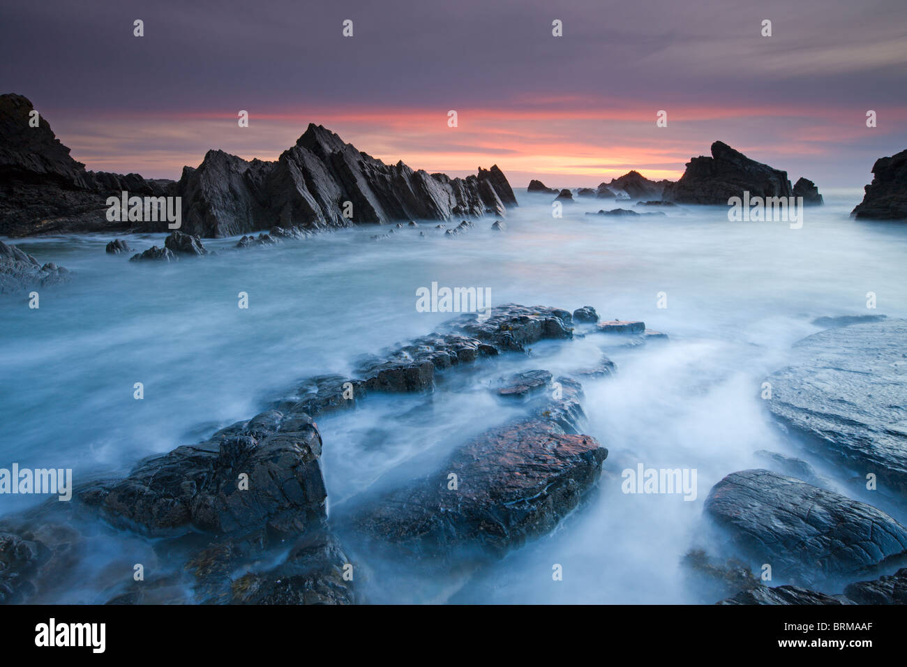 Rocky shores of Hartland Quay in North Devon, England. Spring (April) 2010. - Stock Image