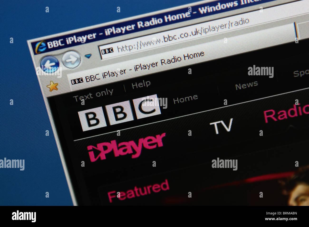 bbc iplayer online website screenshot - Stock Image