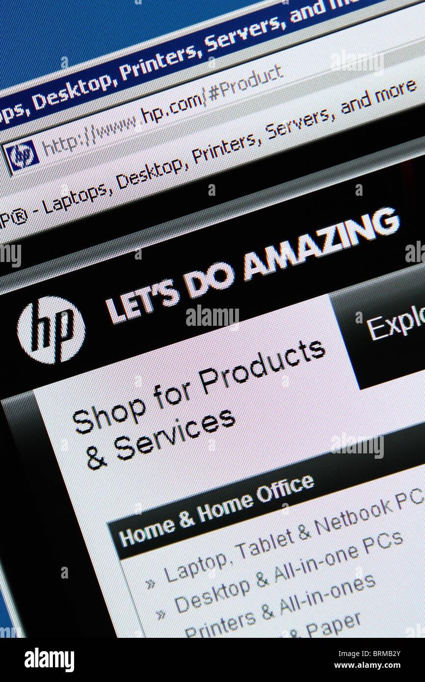 HP website screenshot - Stock Image