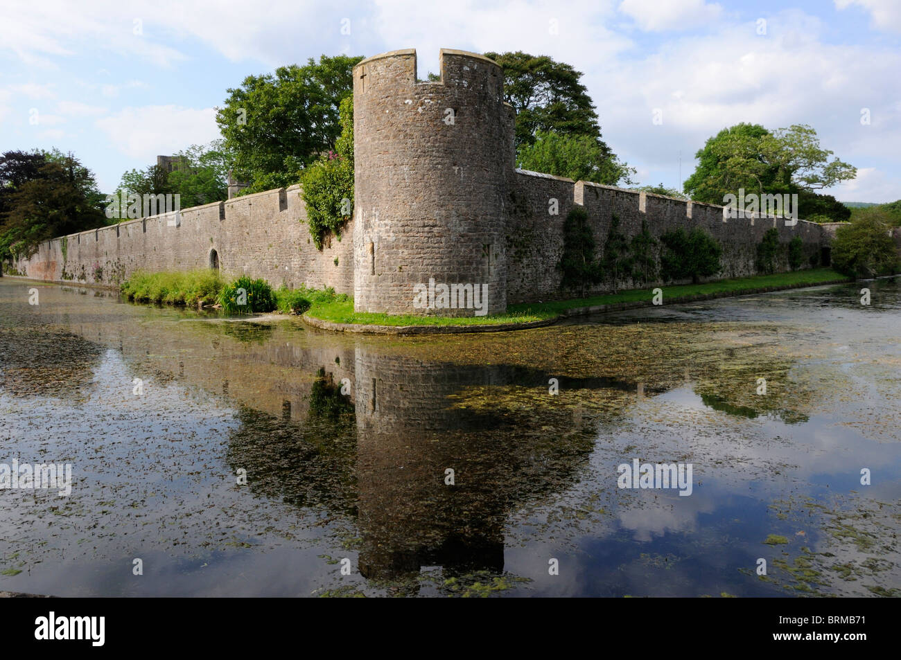 Outer wall and moat of the Bishop's Palace, Wells - Stock Image