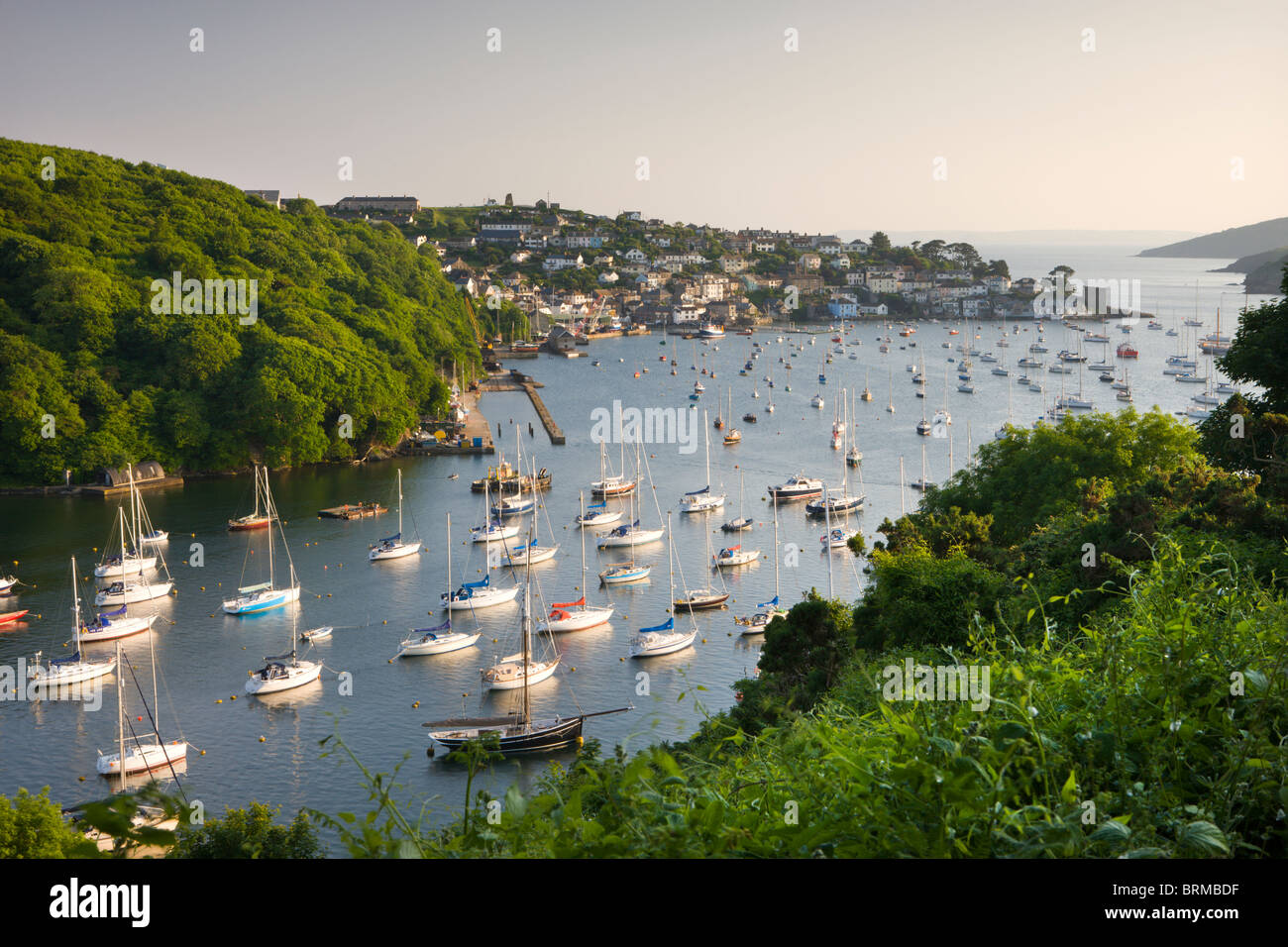 Pont Pill, Polruan and the Fowey Estuary from Hall Walk near Bodinnick, Cornwall, England. Summer (June) 2010. - Stock Image