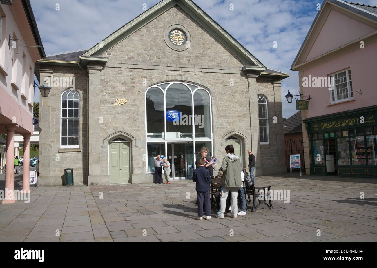 Brecon Powys Wales UK Boots the Chemist housed in an old chapel building in Bethel Square - Stock Image