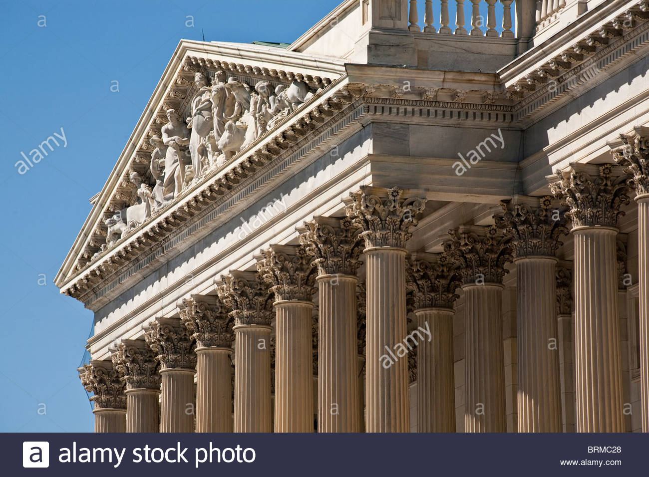 U. S. Capitol Corinthian Column and Frieze over East Facade. - Stock Image