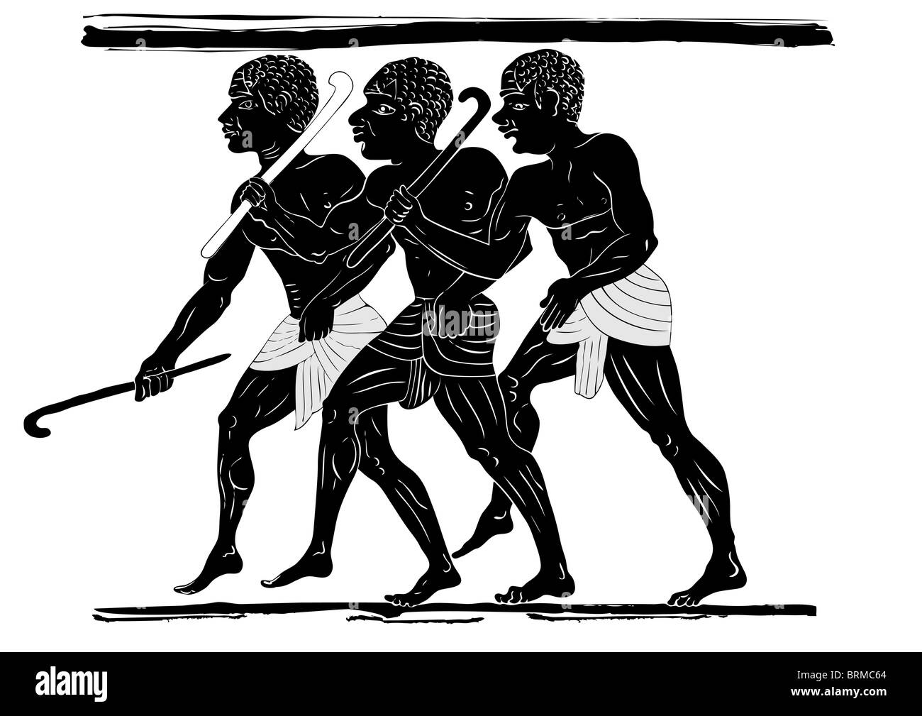 three hunters in primitive style - African ancient art - Stock Image