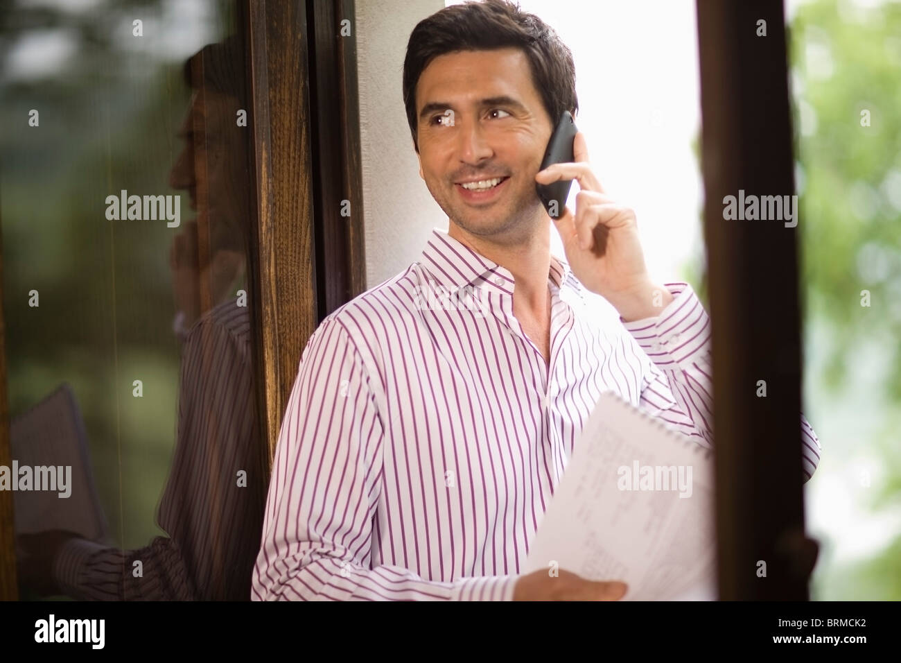 Man doing a telephone call - Stock Image