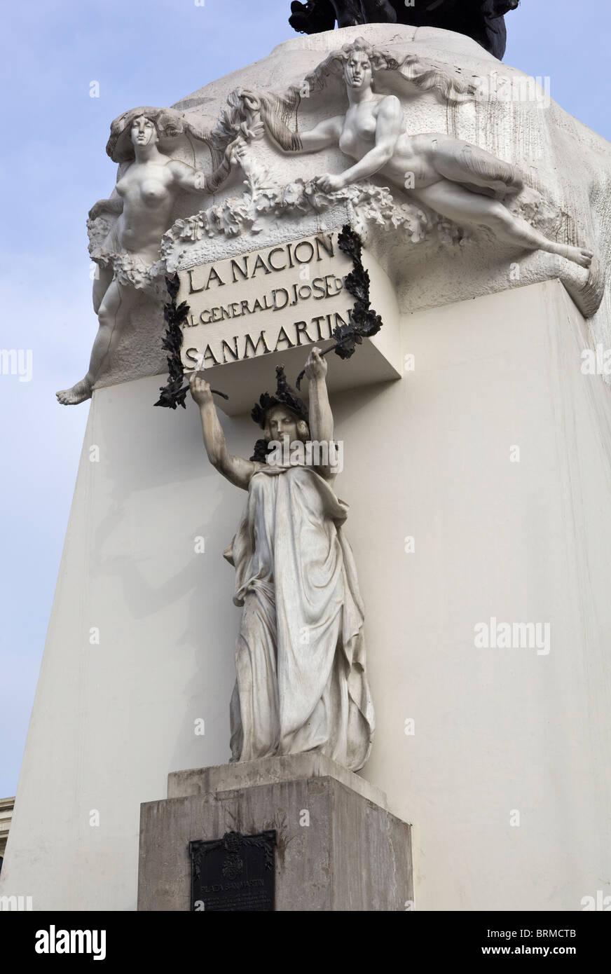 San Martin Statue Detail Plaza de San Martin Lima Peru - Stock Image
