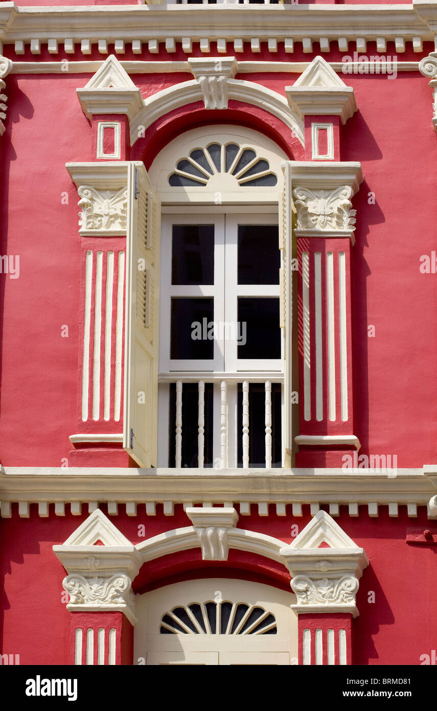 Chinatown Shophouse Facade Singapore - Stock Image