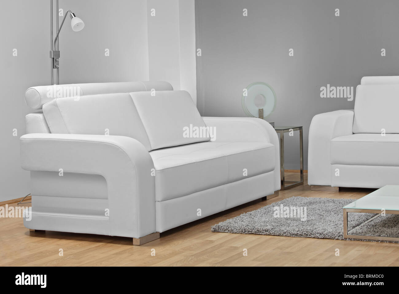 A studio shot of white furniture - Stock Image