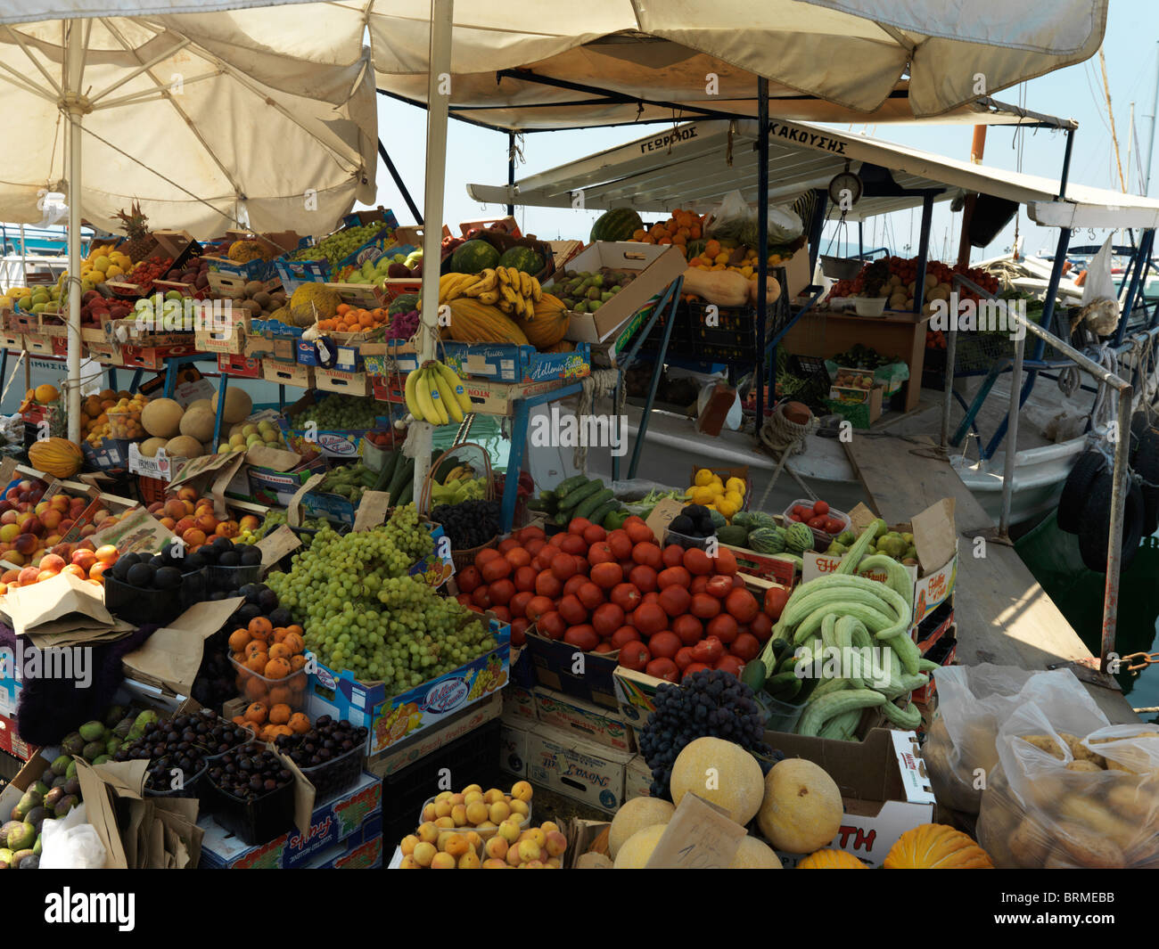 Aegina Greece Argo-Saronic Islands Fruit And Vegetables Being Sold From A Boat - Stock Image