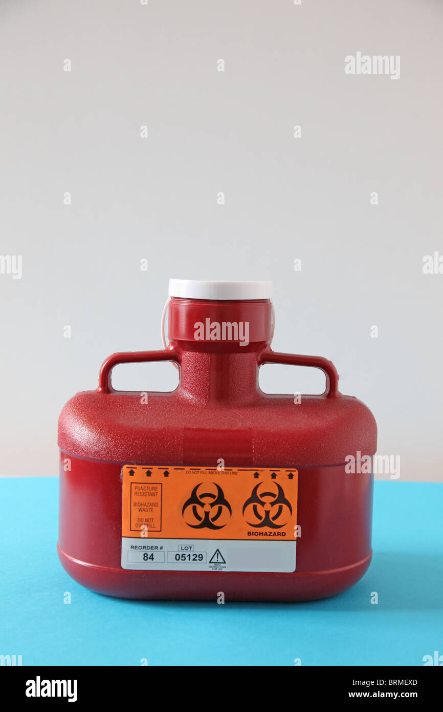 bio hazard sharps needle disposal bottle - Stock Image