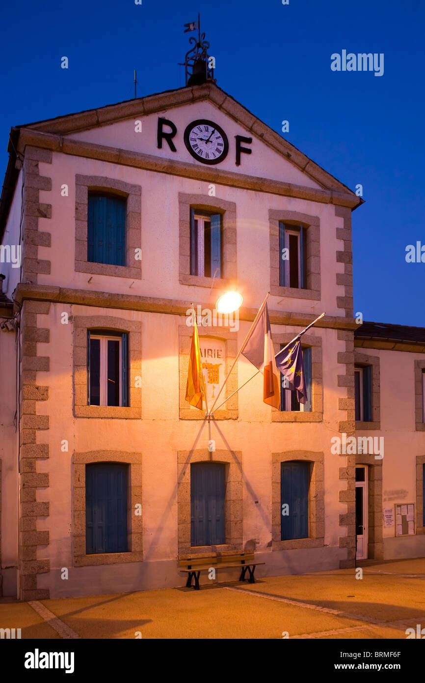Town Hall with RF for Republik Francaise Bourg-Madame department Pyrenees-Orientales France - Stock Image