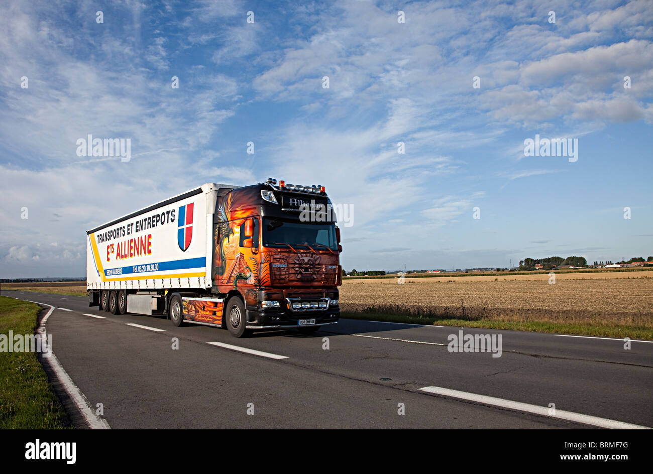 Transport lorry in northern France - Stock Image