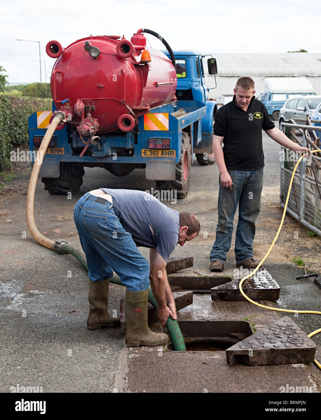 Drain cleaning Talgarth Wales UK - Stock Image