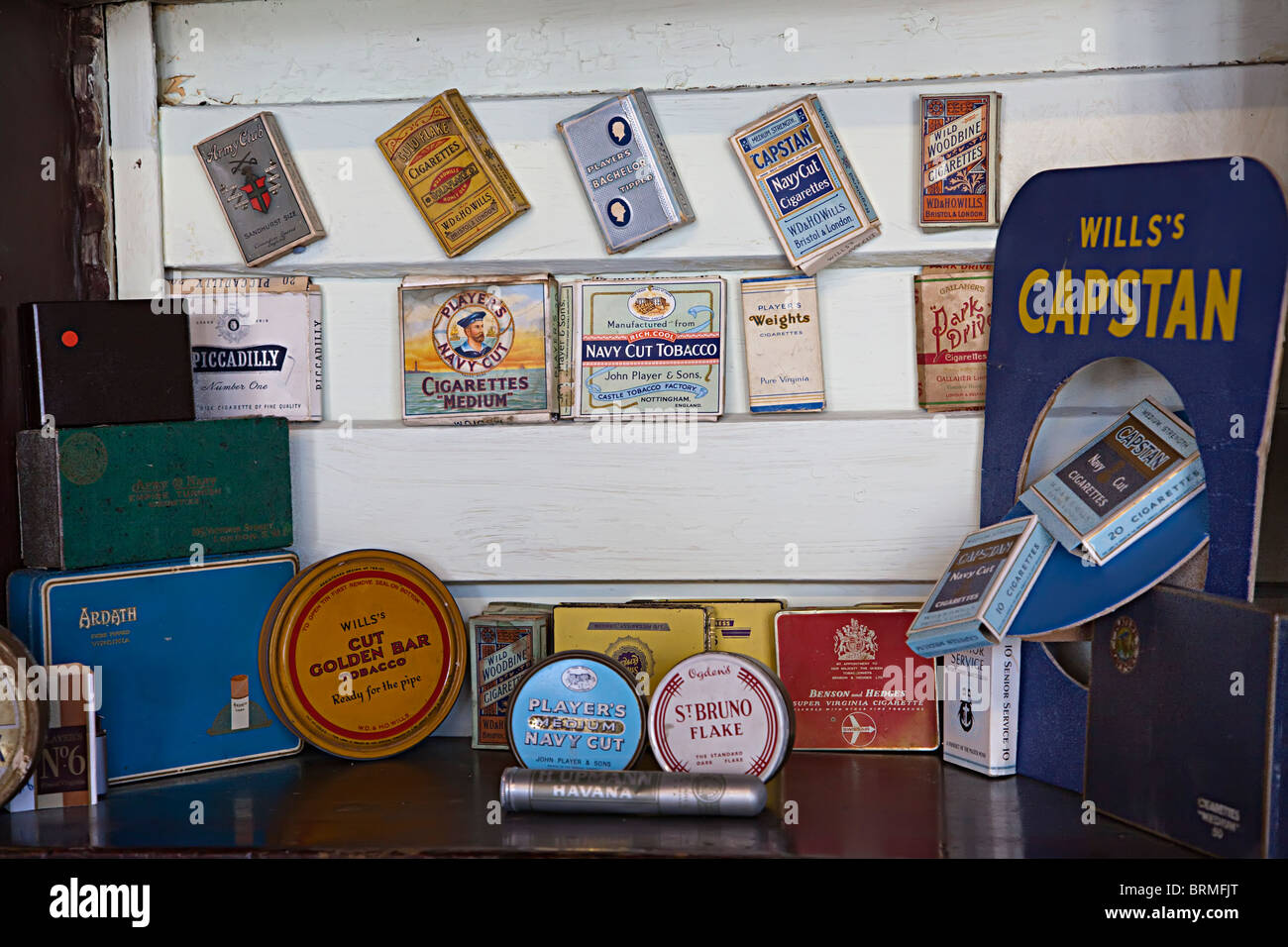 Old tobacco packets and products UK - Stock Image