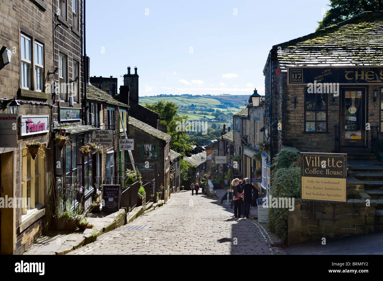 The Main Street In The Village Of Haworth West Yorkshire