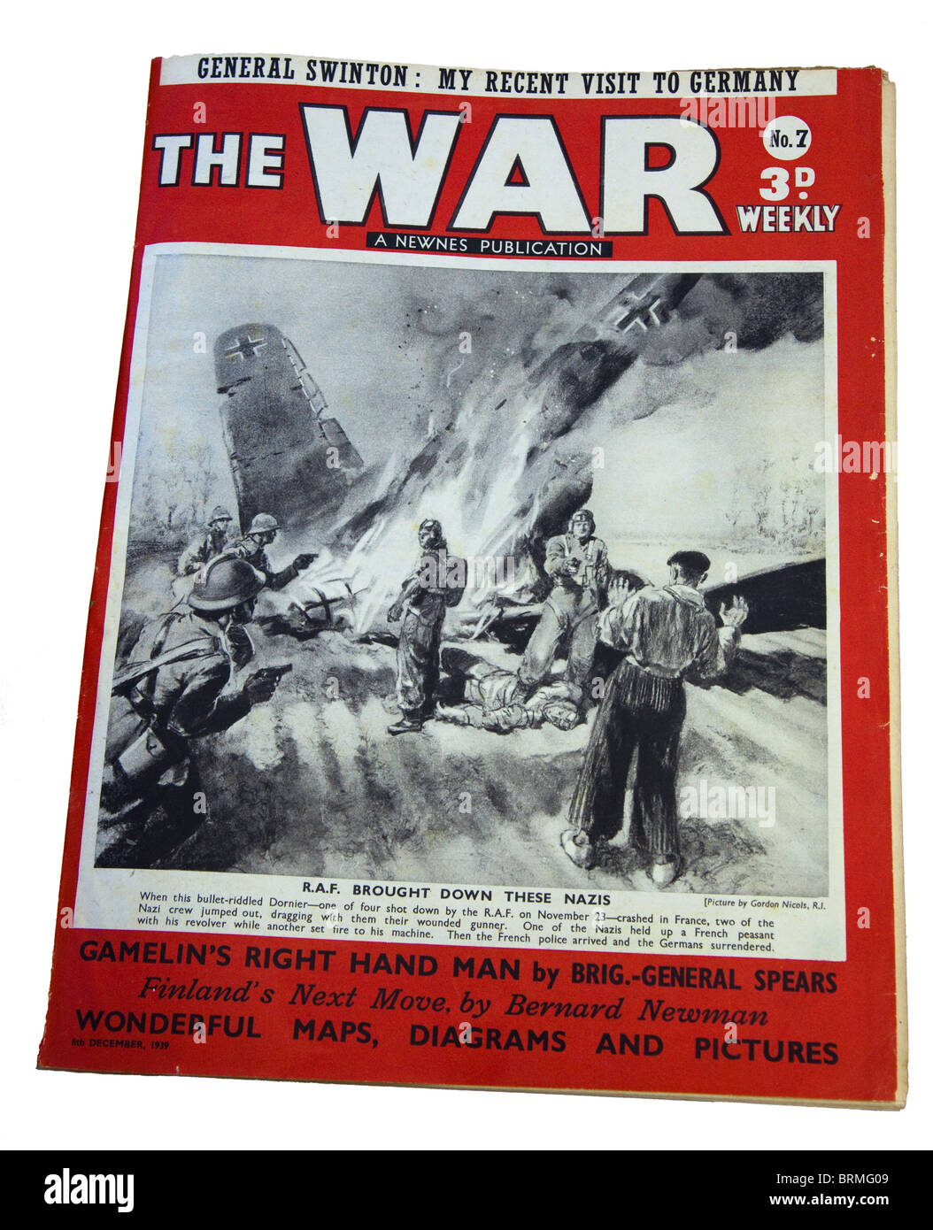 Front cover of Second World War magazine The War Weekly dated 8 September 1939 showing Nazi aicraft crashed in field - Stock Image