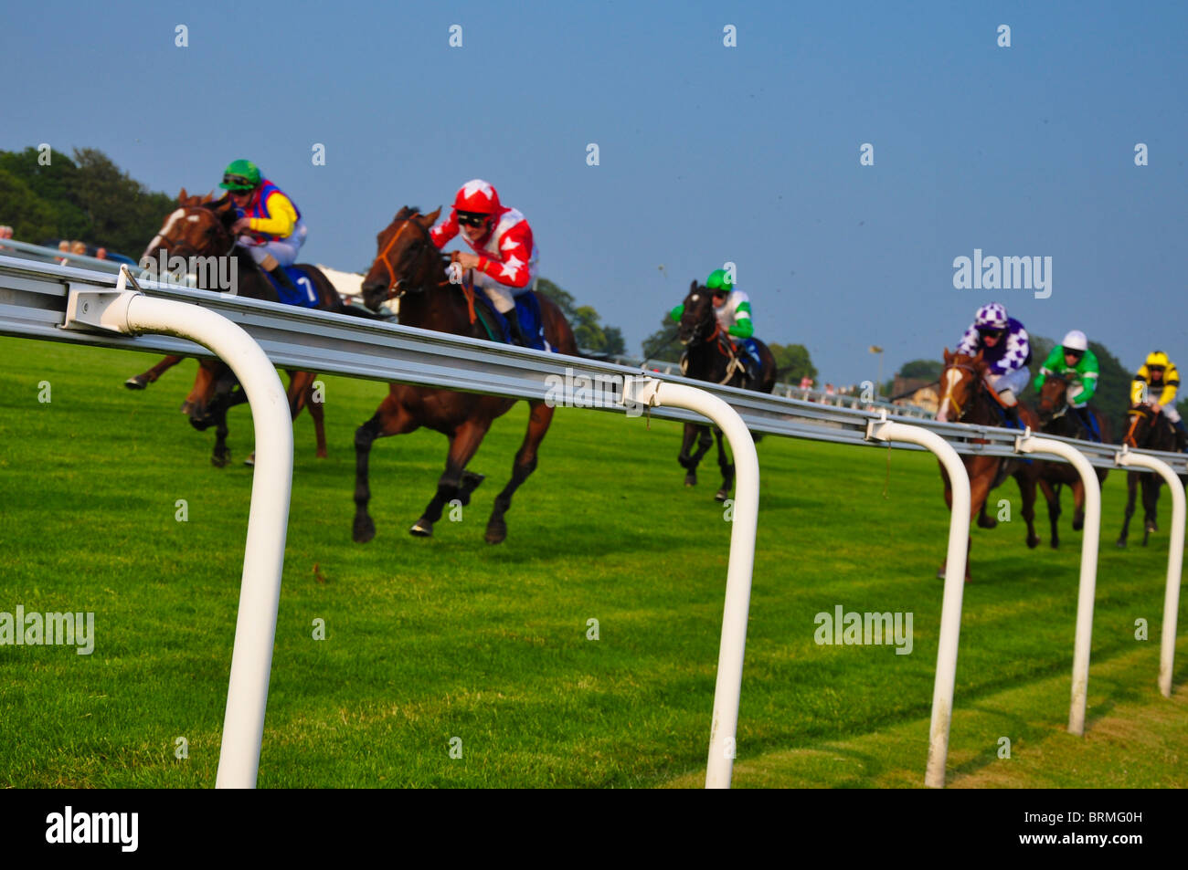 Horse racing at the famous racecourse of Epsom - Stock Image