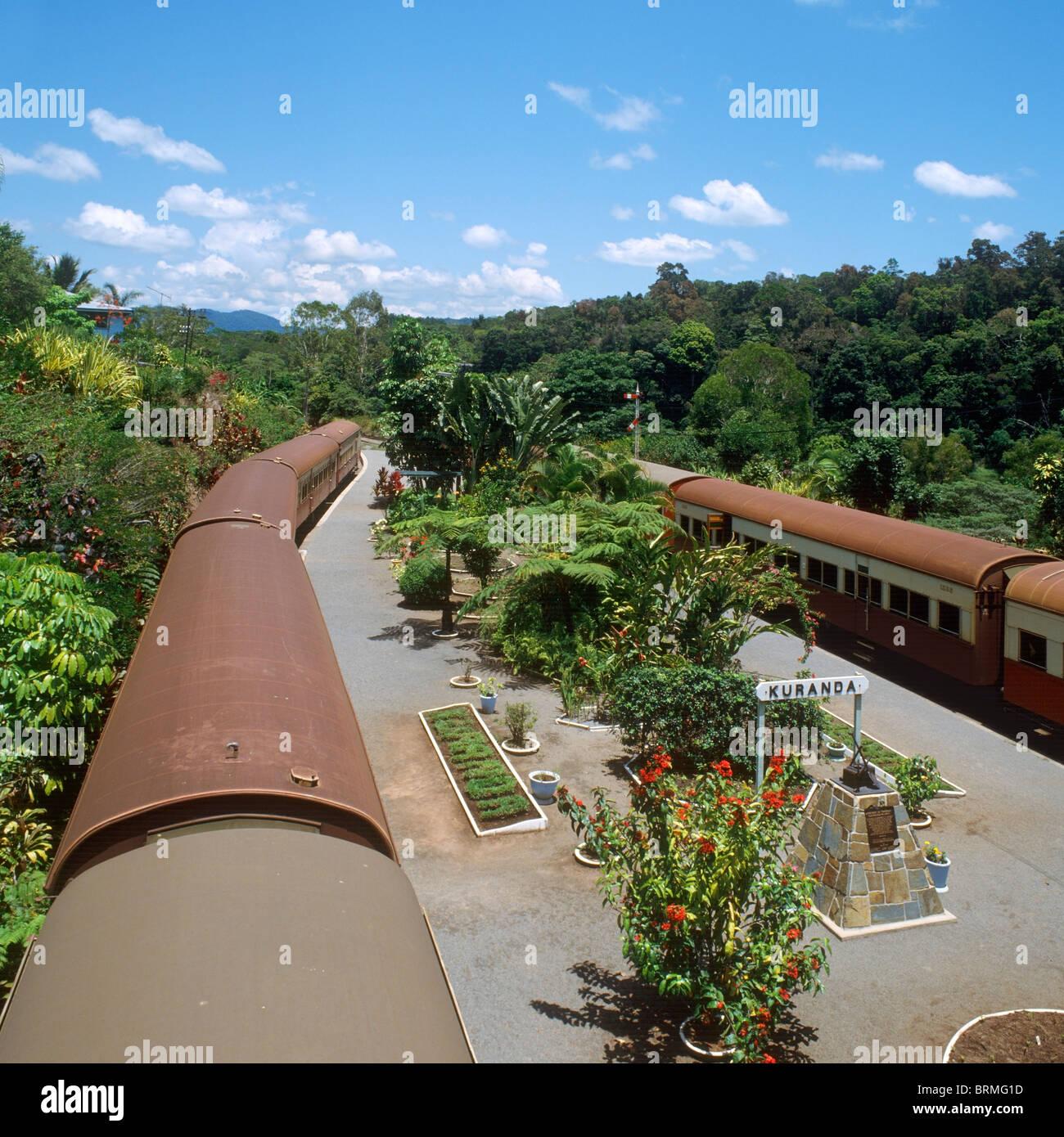 Trains in the station in Kuranda, Atherton Tablelands, North Queensland, Australia - Stock Image