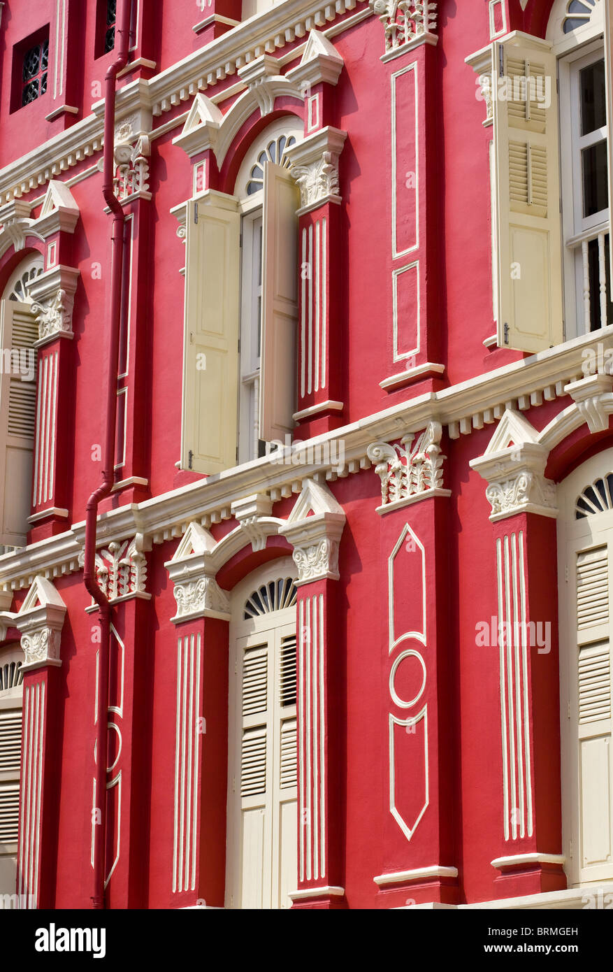 Chinatown Shophouse Facade Singapore Stock Photo