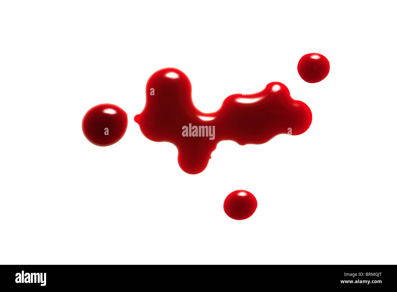 drop of blood isolated on white background close up - Stock Image