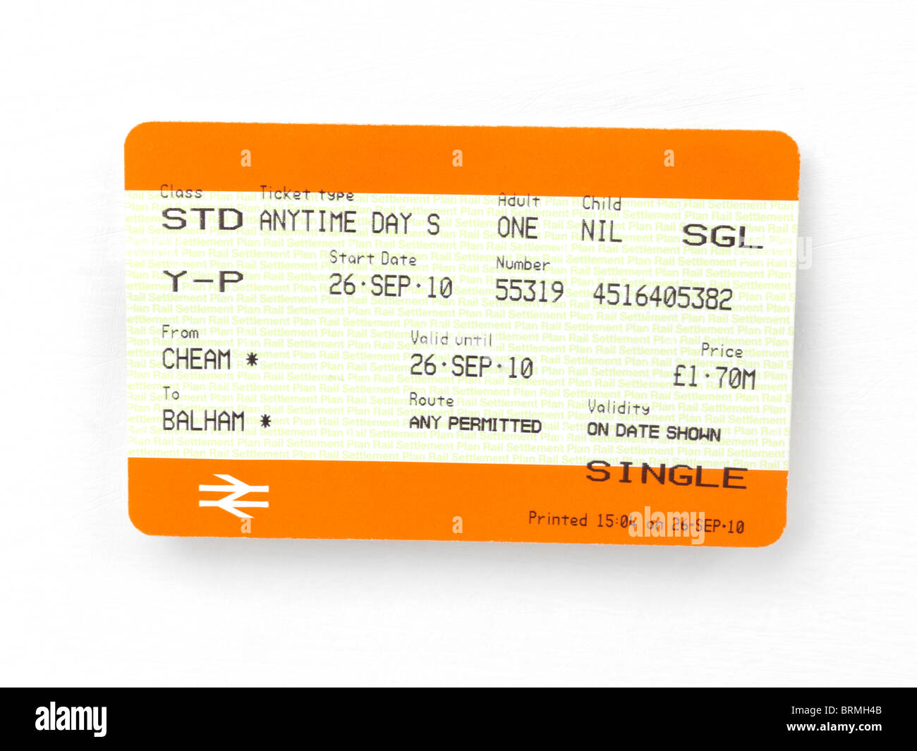 Single Train Ticket for National Rail with No Year - Stock Image