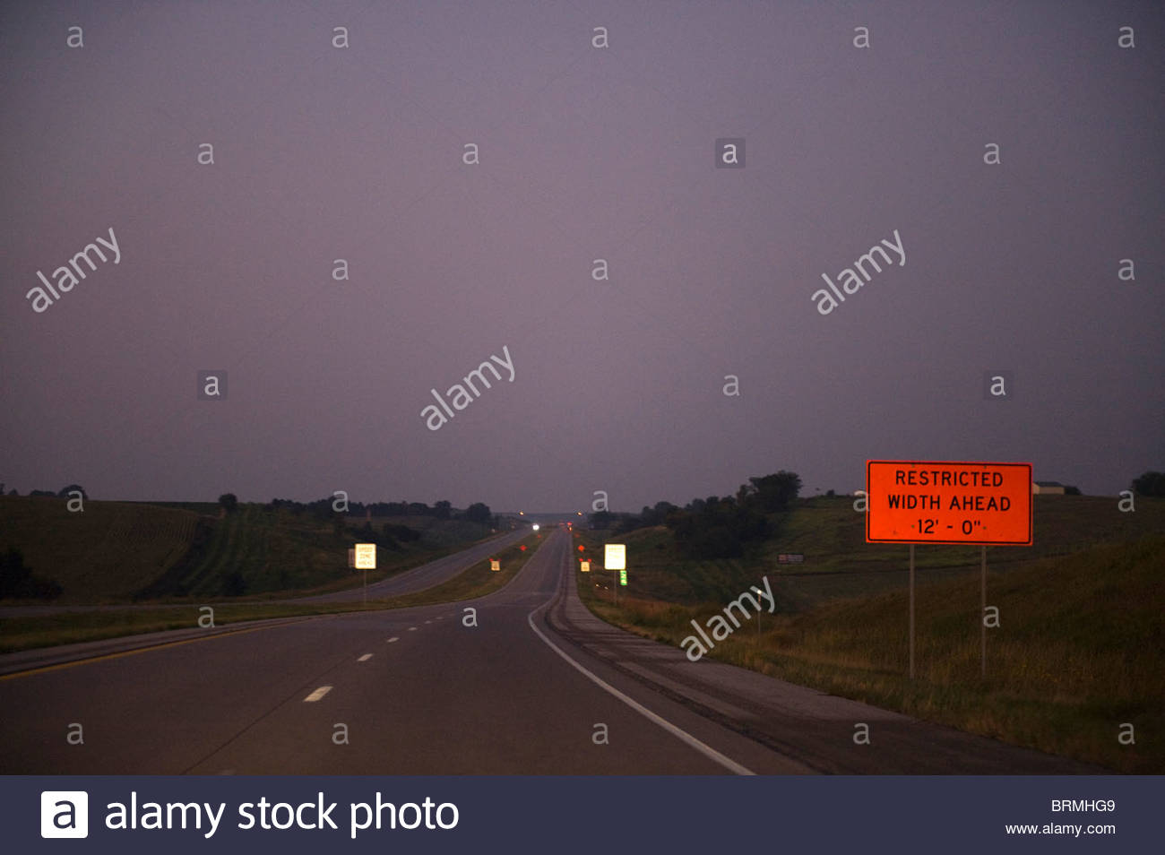 A deserted interstate outside St. Paul, MN. - Stock Image