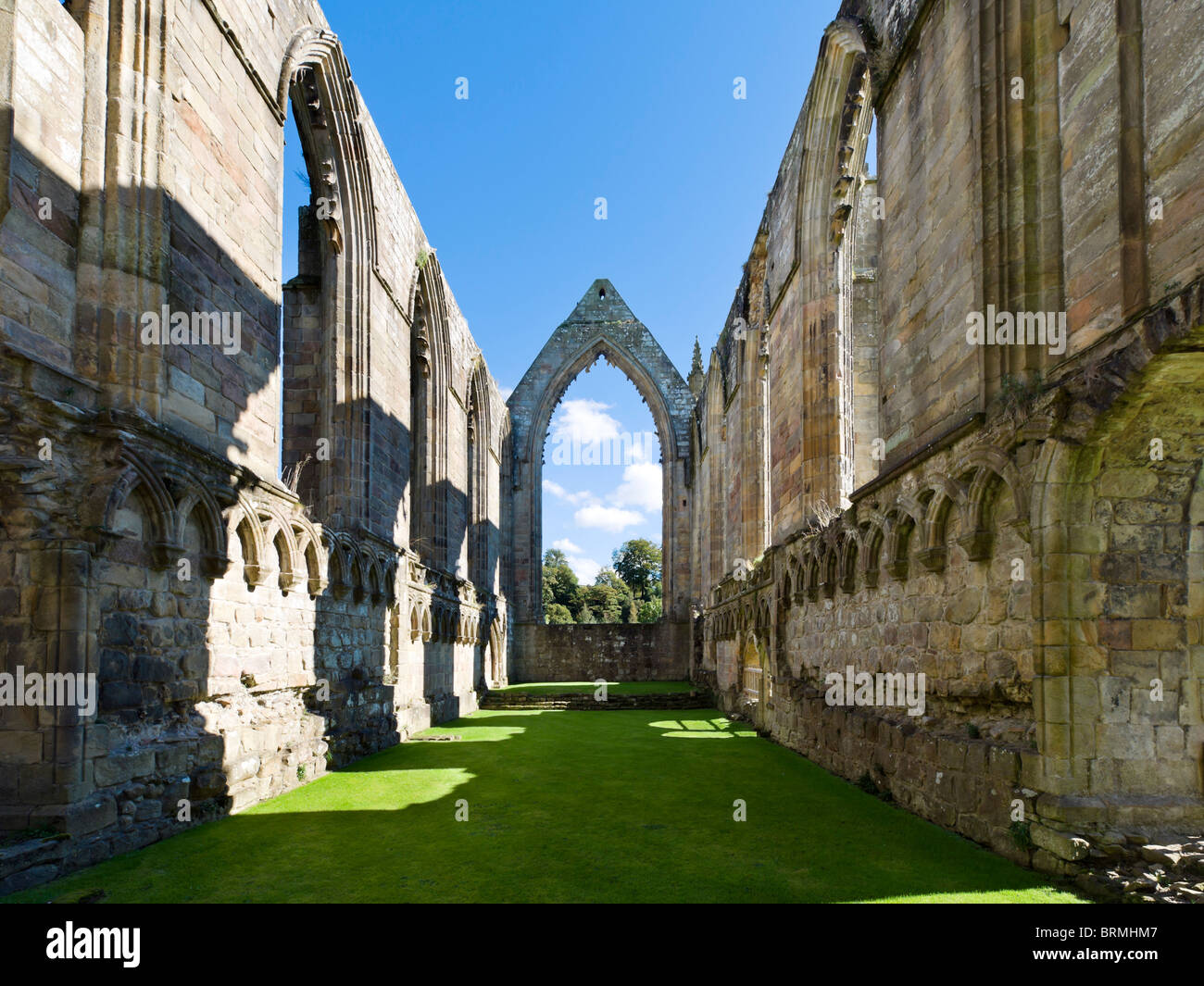 Interior of the ruins of Bolton Priory, Bolton Abbey, Wharfedale, Yorkshire Dales, North Yorkshire, England, UK - Stock Image