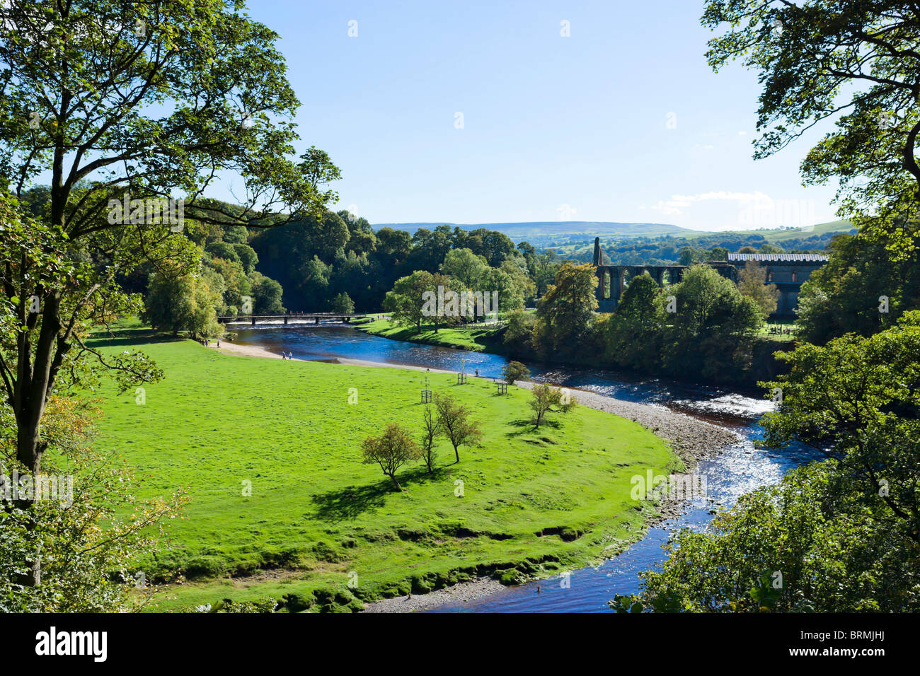 Bolton Priory with the River Wharfe in the foreground, Bolton Abbey, Wharfedale, Yorkshire Dales, North Yorkshire, - Stock Image