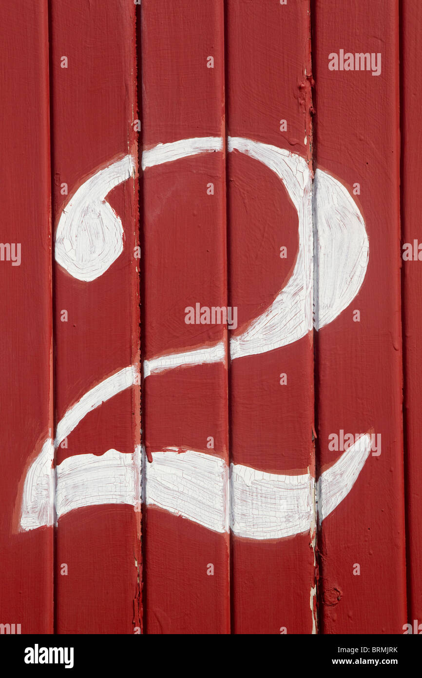 The number 2, white on red boards - Stock Image