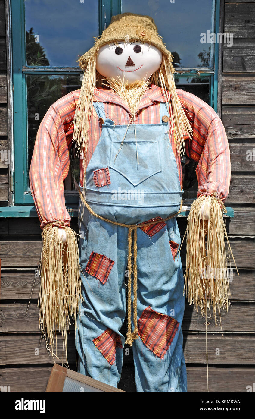Scarecrow standing against a wooden shed wall - Stock Image