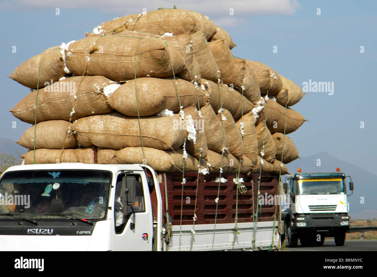 A truck loaded with hessian bags cotton - Stock Image