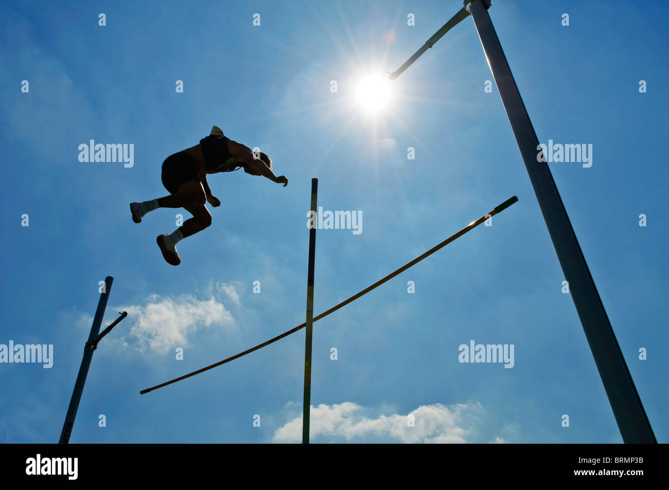 Paul Vaulter fails the jump againstt blue sky - Stock Image