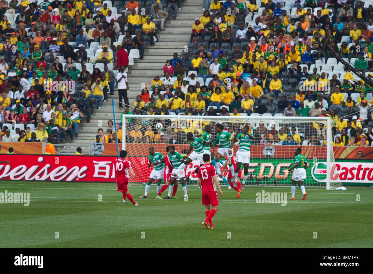 H. Yong Jo takes a free kick on goal during the 2010 World Cup match between Korean DPR and Cote d'Ivoire - Stock Image