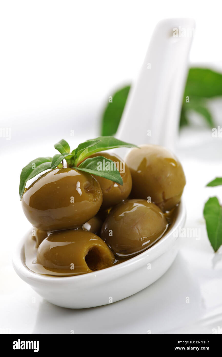 Olives and olive oil - Stock Image