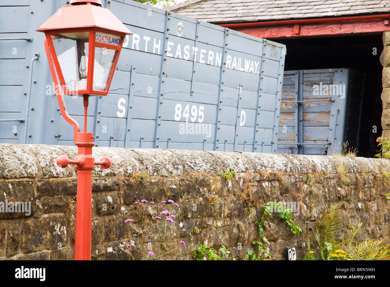Lamp and Old North Eastern Railway Wagon at Goathland Station North Yorkshire England - Stock Image