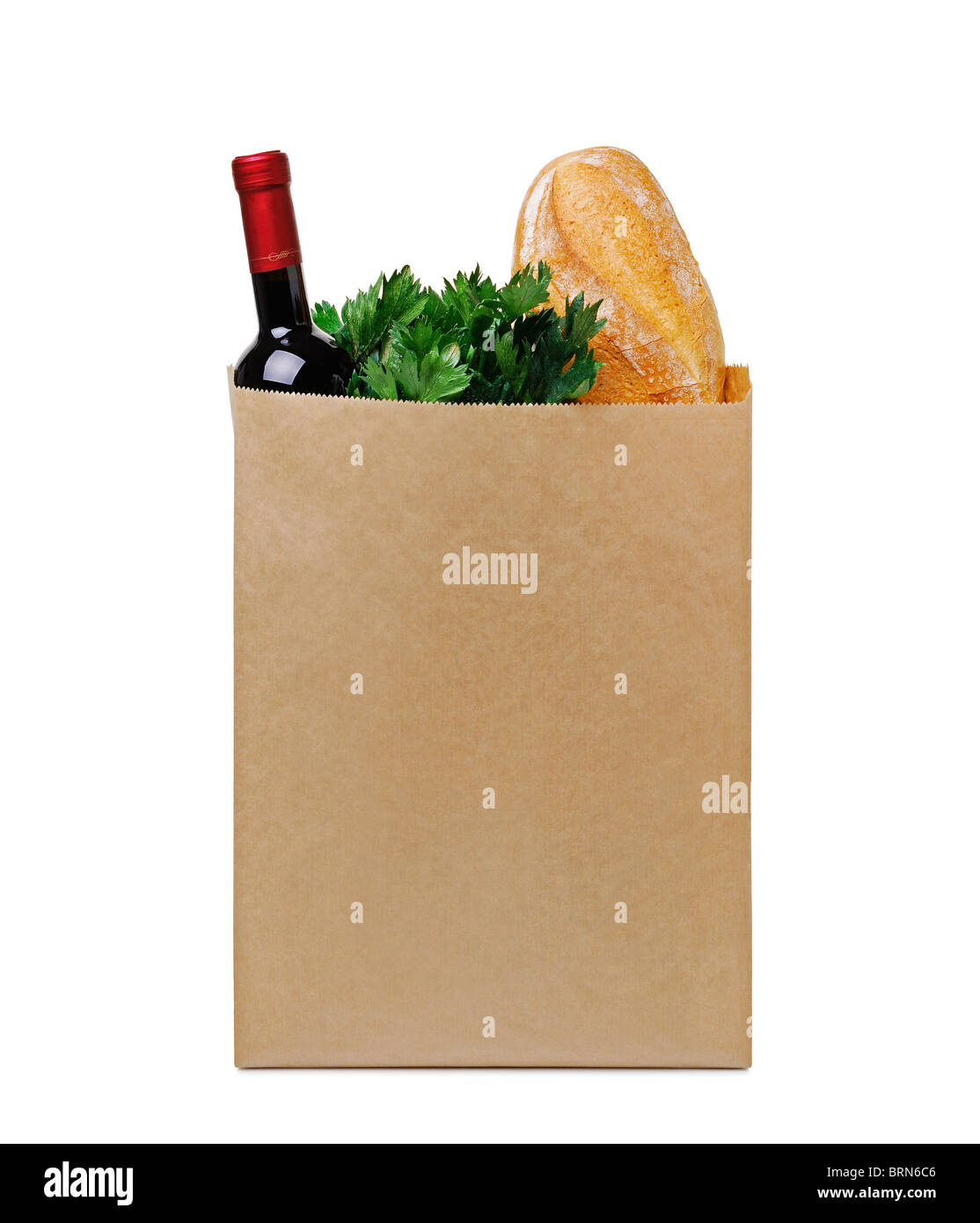 Grocery Bag Full of Groceries, Cut Out. - Stock Image