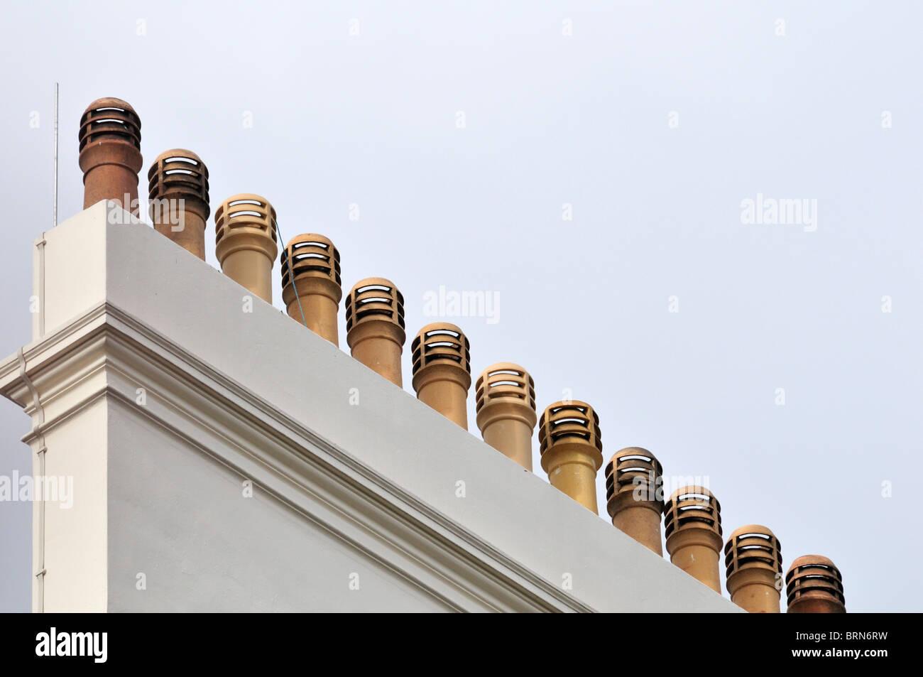 Multiple chimney pots, London, United Kingdom - Stock Image