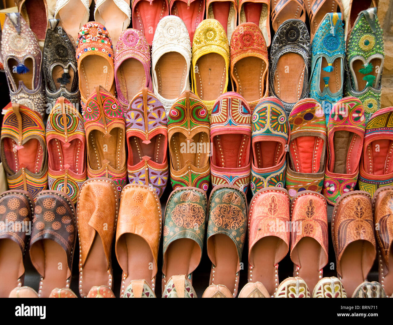 aad6c545c0fd Traditional Rajasthani shoes on sale in Jaisalmer Rajasthan - Stock Image